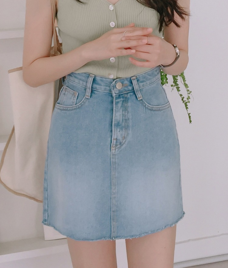 ESSAYFaded Wash Mini Denim Skirt