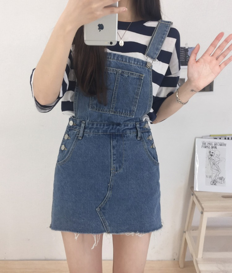 NEVERM!NDFrayed Hem Denim Suspender Skirt