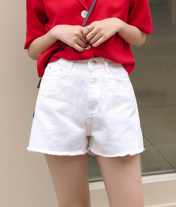 ESSAYFringed Hem Solid Tone Cotton Shorts