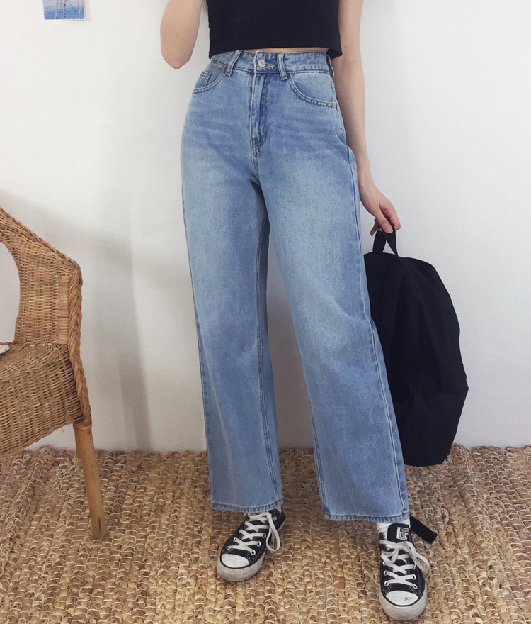 NEVERM!NDWhisker Wash Wide Leg Denim Pants