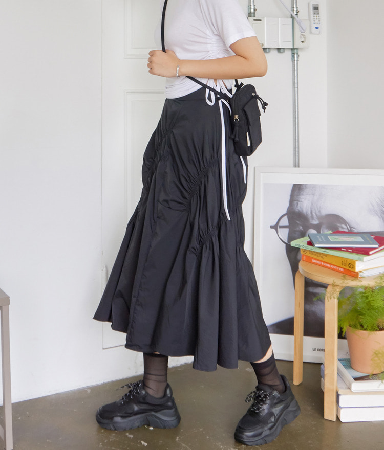 QUIETLABElastic Accent Flared Long Skirt