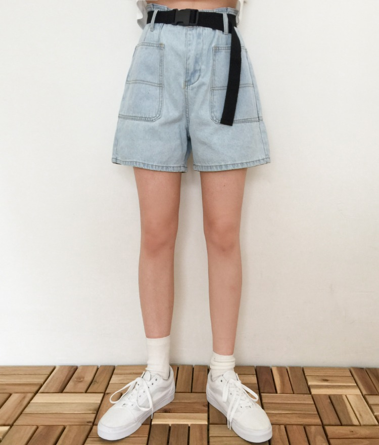 NEVERM!NDBelt Accent Wide-Leg Denim Shorts