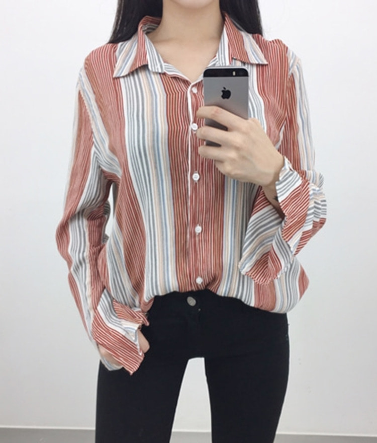 Collared Striped Button-Down Blouse