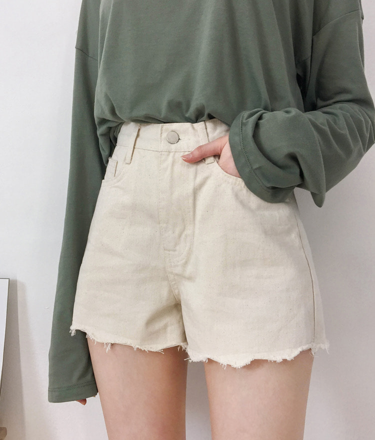 NEVERM!NDSingle Tone Frayed Hem Shorts
