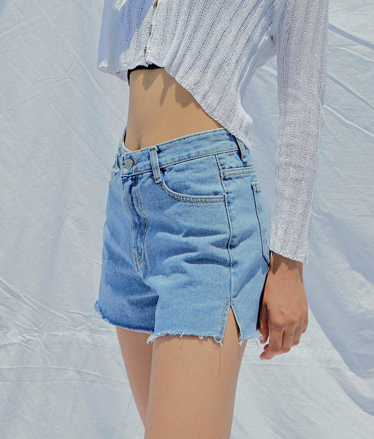 QUIETLABHigh Waist Side Slit Raw Hem Denim Shorts