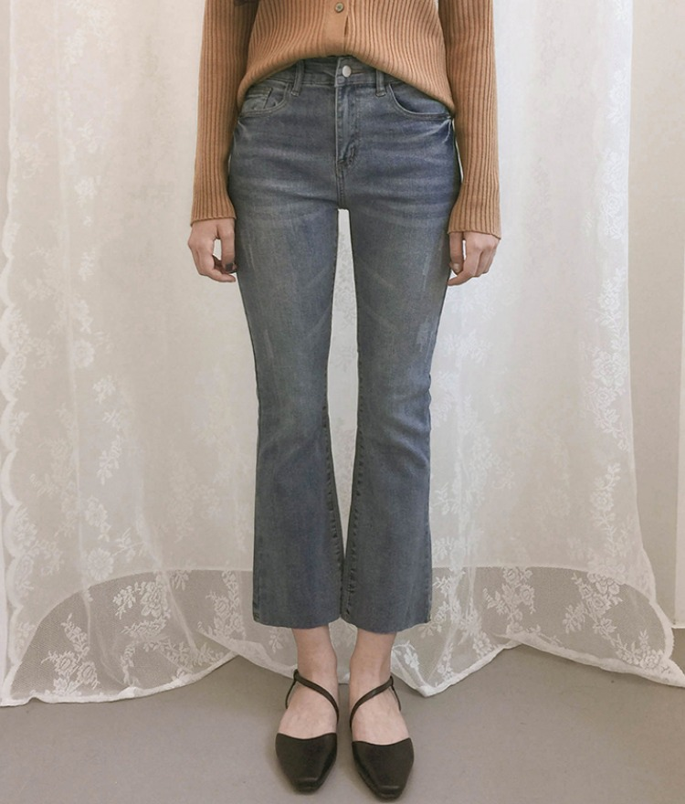 ROMANTIC MUSEWhisker Wash Raw Hem Denim Pants
