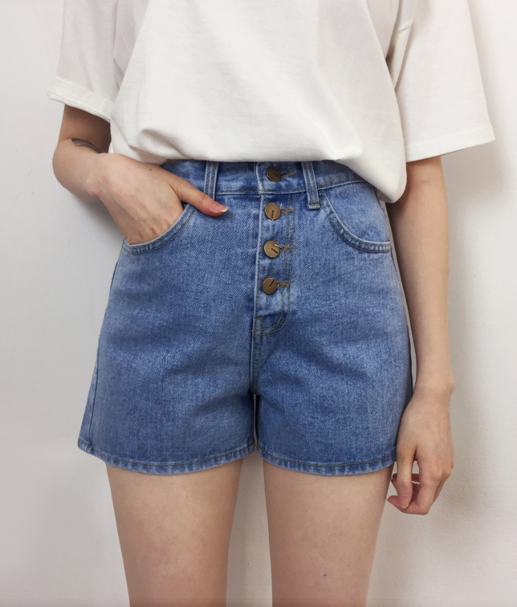 NEVERM!NDButton-Fly Denim Shorts