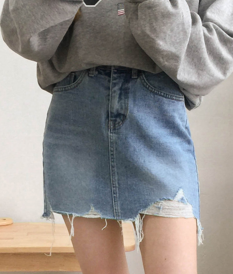NEVERM!NDDistressed Hem Mini Denim Skirt