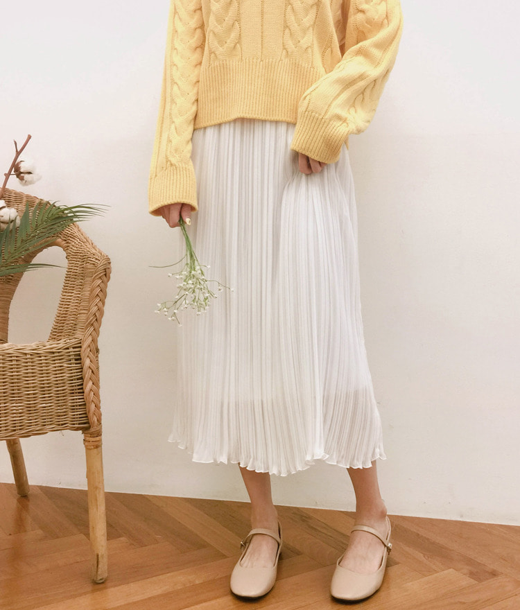 ROMANTIC MUSEPleated Long Skirt