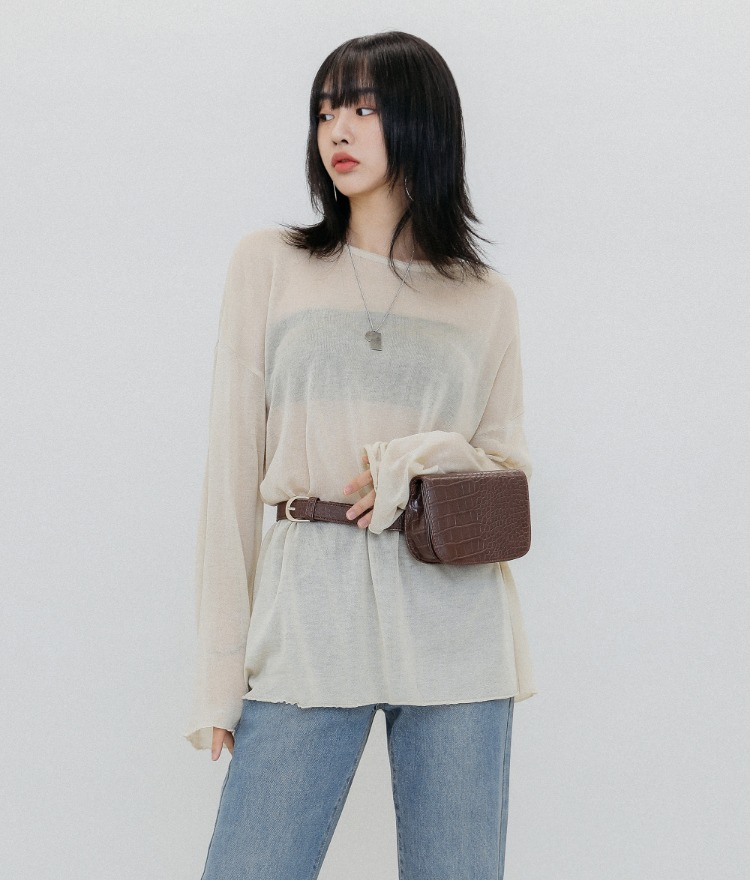 QUIETLAB  Oversized Sheer T-Shirt