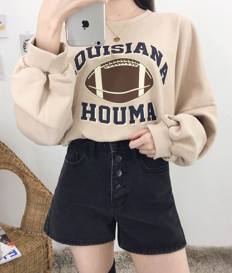 NEVERM!NDGraphic Print Loose Fit Cotton Sweatshirt