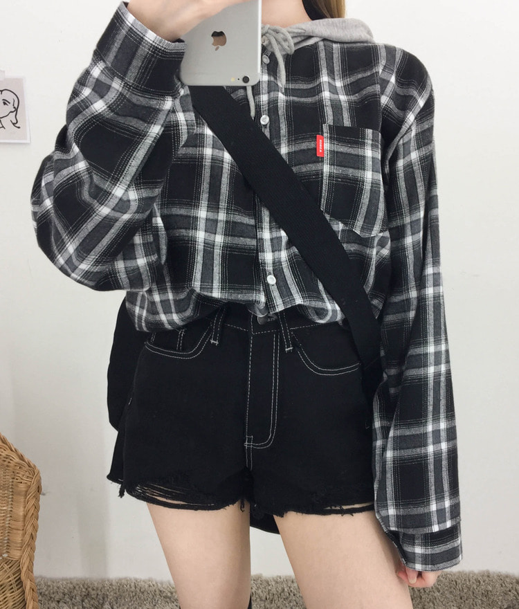 NEVERM!NDContrast Hood Loose Fit Check Shirt