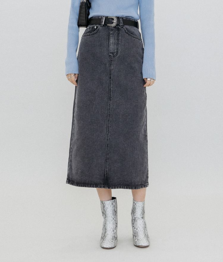 QUIETLAB  Back Slit Midi Denim Skirt