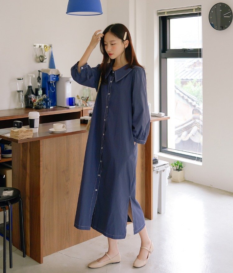 ESSAYContrast Stitch Balloon Sleeve Dress