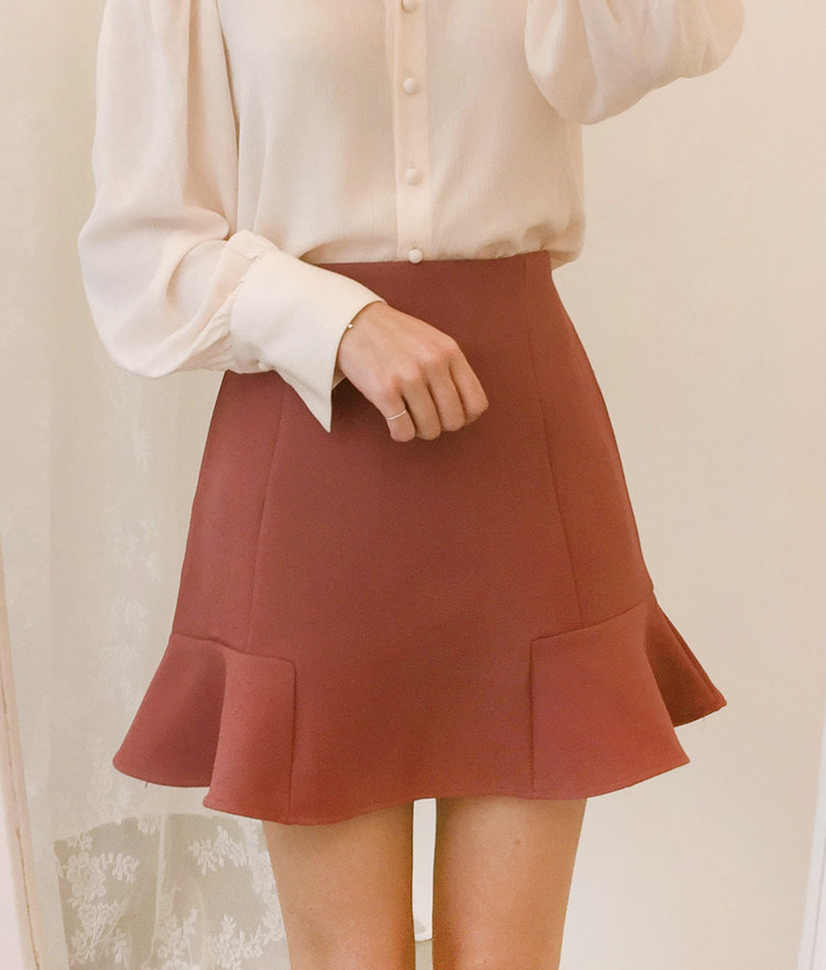 ROMANTIC MUSERuffled Hem Flared Mini Skirt