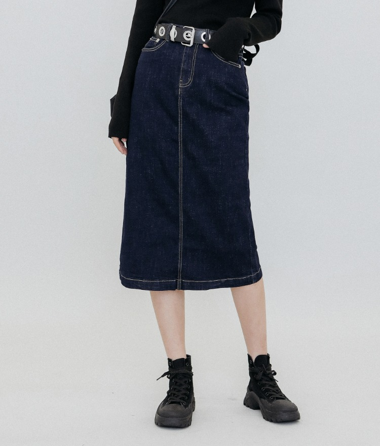 QUIETLAB  Midi Blue Denim Skirt