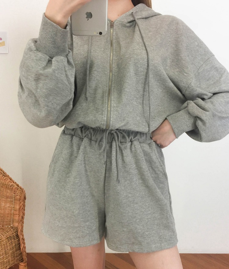 NEVERM!NDHooded Drawstring Waist Romper