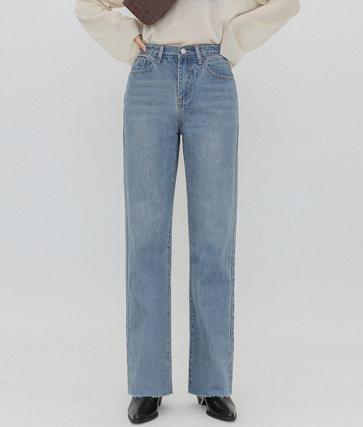 QUIETLABFrayed Hem Straight Cut Jeans