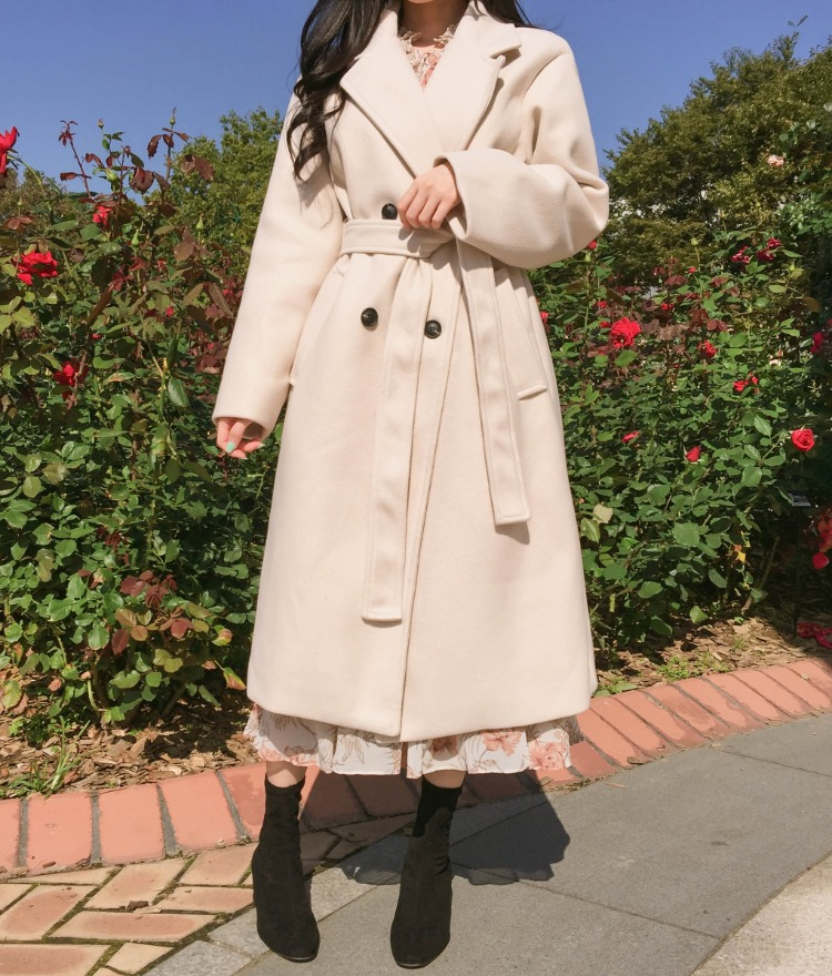 ROMANTIC MUSEWool Blend Self-Tie Belt Coat
