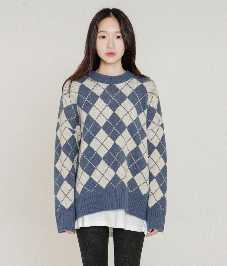 ESSAYArgyle Pattern Ribbed Edge Knit Top