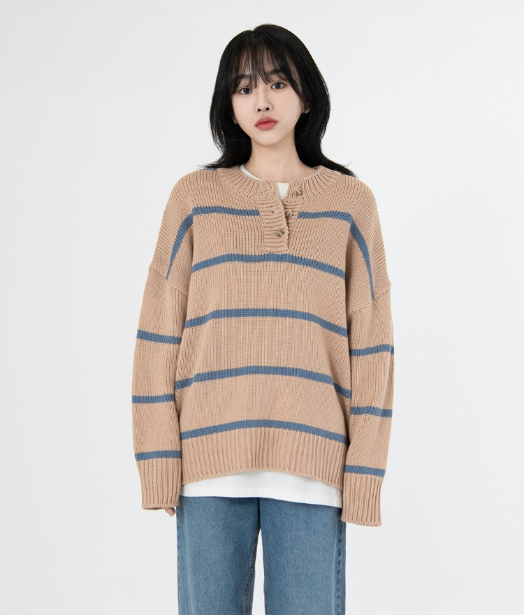NEVERM!NDPartial Button Closure Striped Knit Top