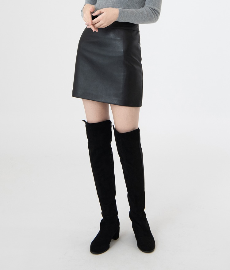 ESSAYFaux Leather High Waist Mini Skirt