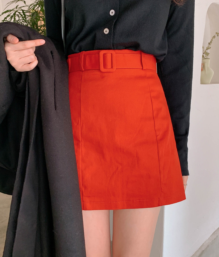 Belted A-Line Mini Skirt