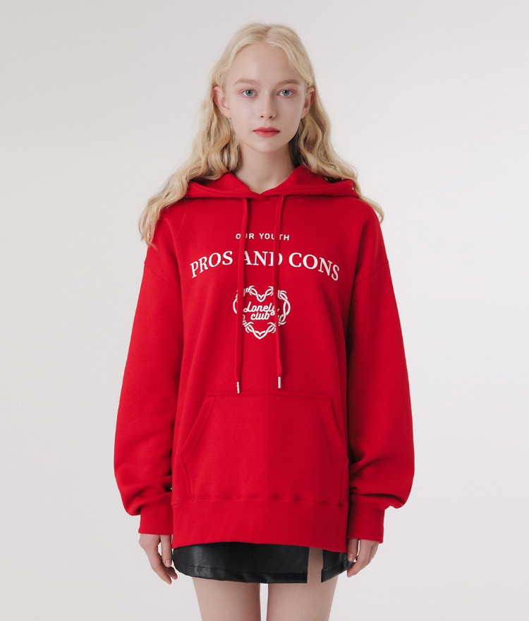 LONELY CLUBContrast Lettering Print Red Hoodie