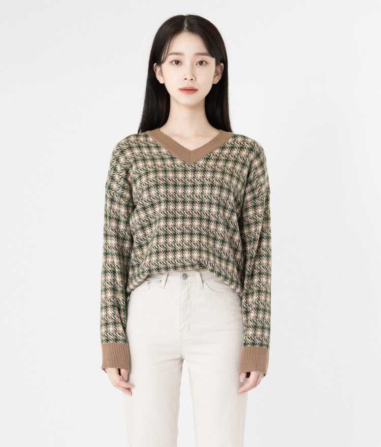 ESSAYV-Neck Houndstooth Check Sweater
