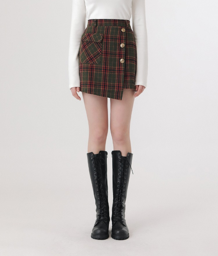 LONELY CLUBKhaki Asymmetrical Hem Check Skirt