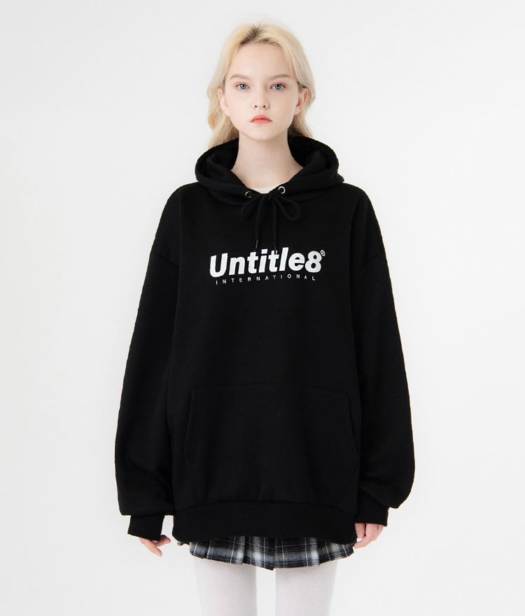 UNTITLE8Black Logo Print Drawstring Hoodie