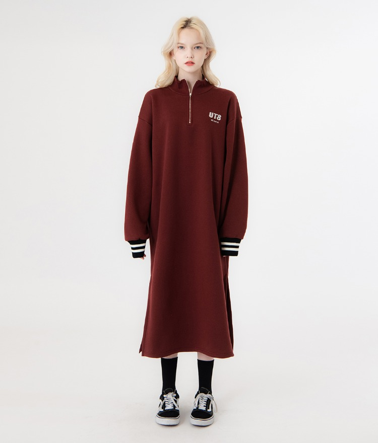 UNTITLE8Wine-Colored Quarter Zip Loose Fit Dress