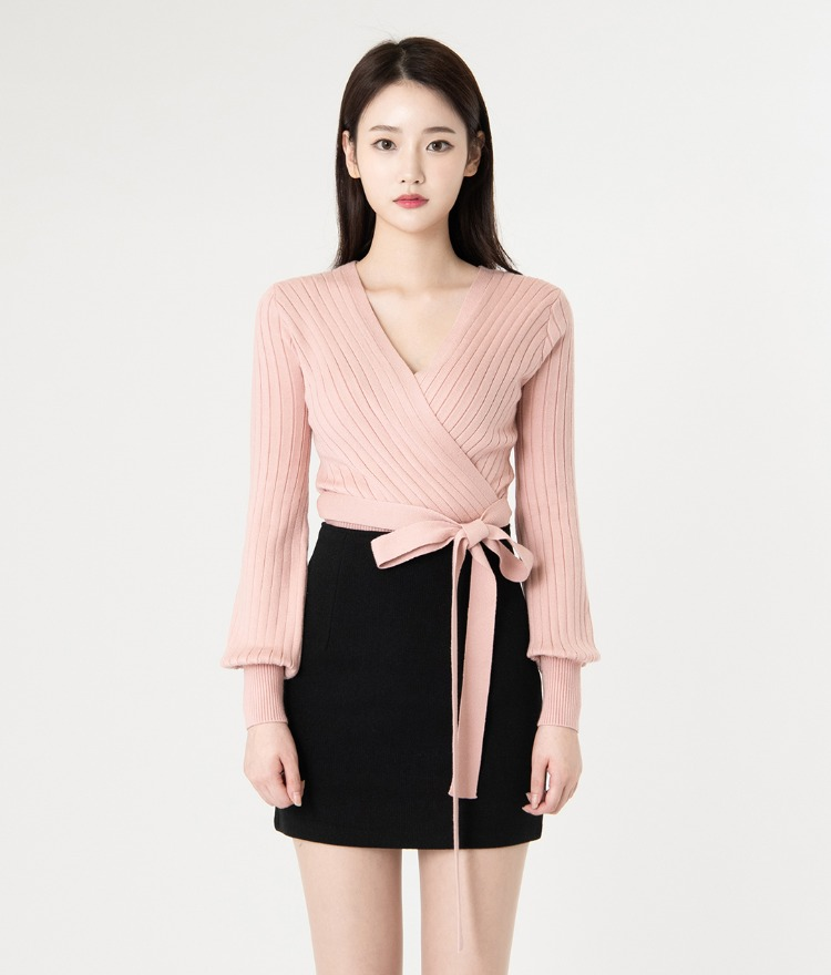 ROMANTIC MUSESurplice Neck Tie-Waist Knit Top