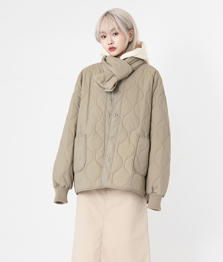 NEVERM!NDThread-Through Scarf And Quilted Jacket Set