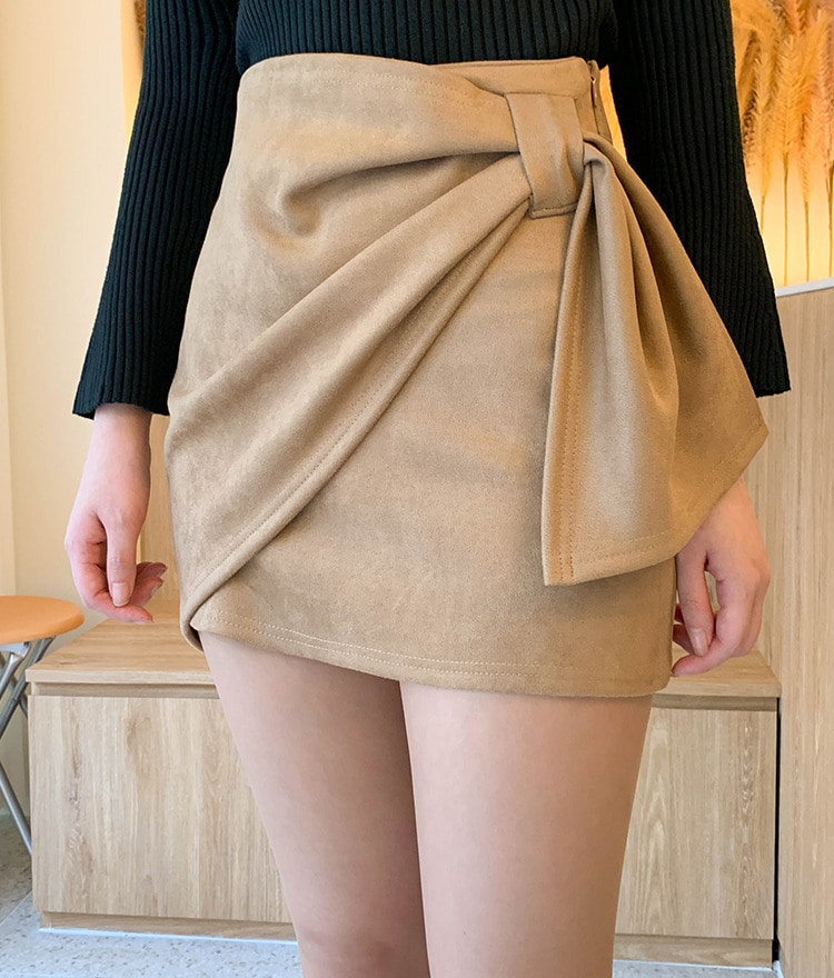 ROMANTIC MUSELeatherette Wrap Front Mini Skirt