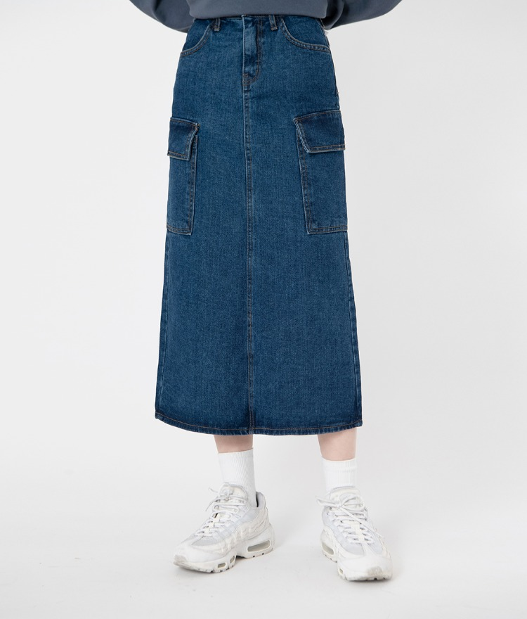 NEVERM!NDFlap Pocket Long Denim Skirt