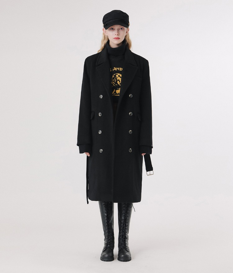 LONELY CLUBBlack Belted Woolen Coat