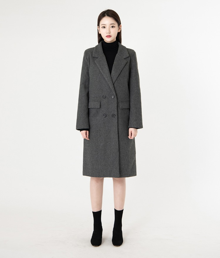 ROMANTIC MUSEFlap Pocket Woolen Double-Breasted Coat