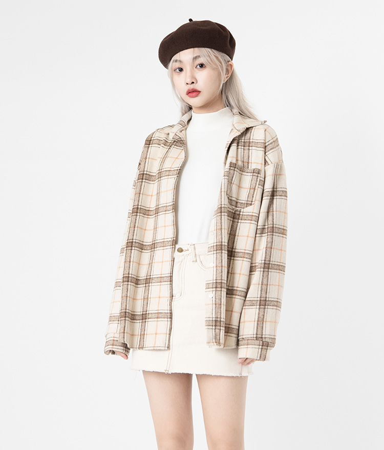 NEVERM!NDOne Pocket Oversized Check Shirt