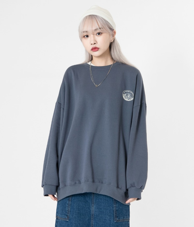 NEVERM!NDMountain-Themed Print Loose Sweatshirt