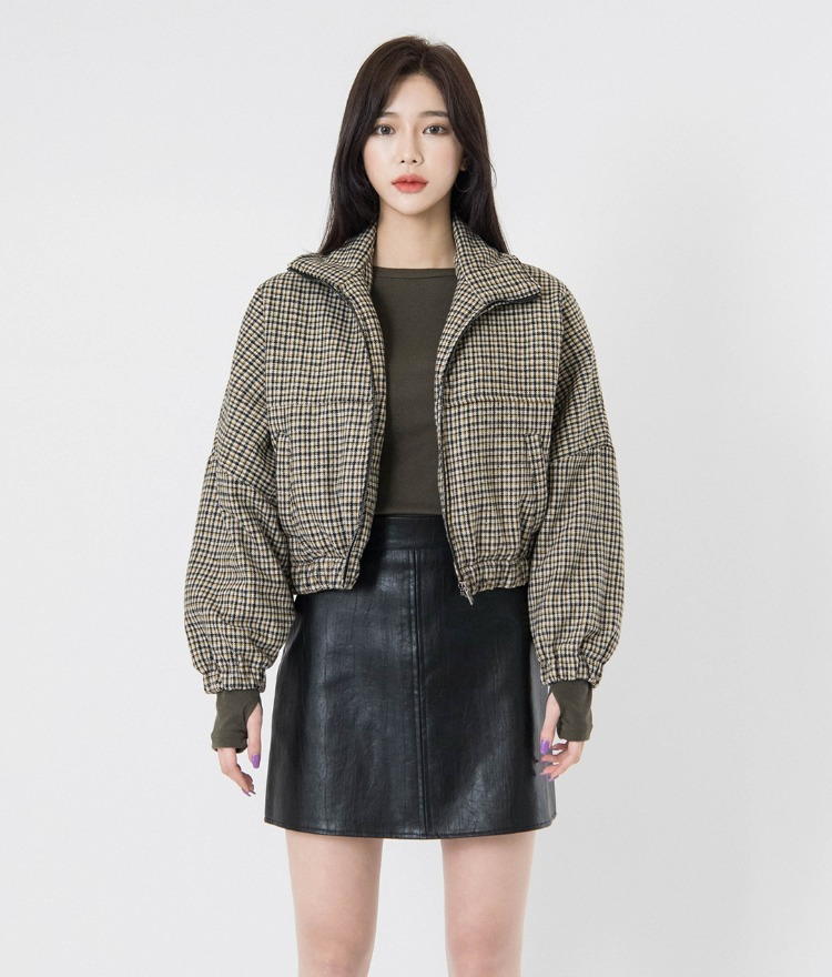 QUIETLABQuilt-Lined Check Cropped Jacket