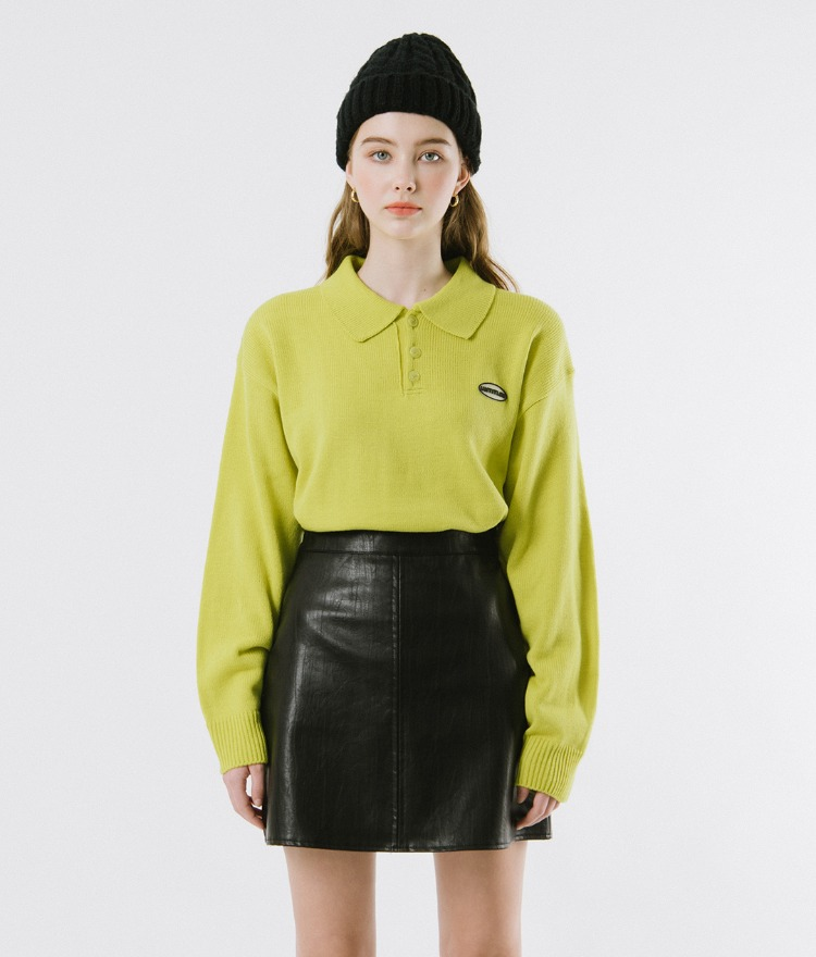 UNTITLE8  Lime-Toned Collared Knit Top