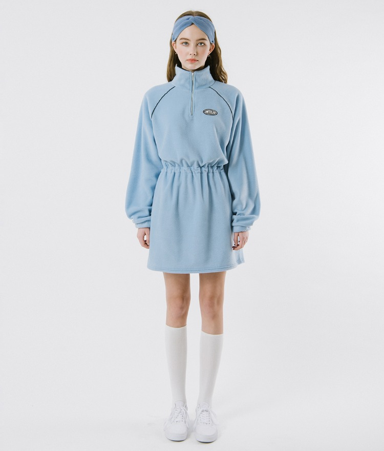 UNTITLE8  Sky Blue High Neck Dress
