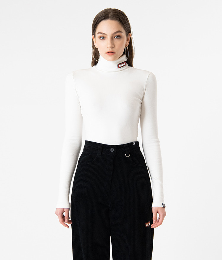 HIDELogo Patch Ivory-Tone Turtleneck T-Shirt