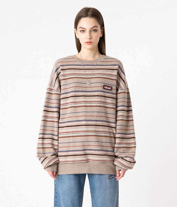 HIDELogo Patch Striped Beige Sweatshirt