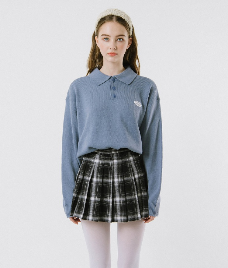 UNTITLE8  Sky Blue Collared Knit Top
