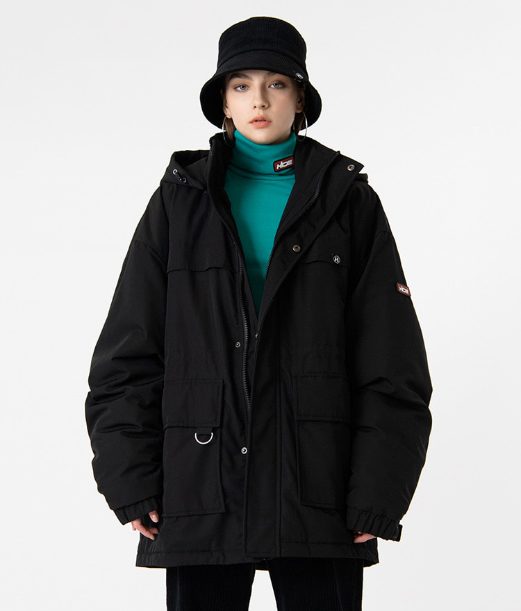 HIDELogo Patch Hooded Black Parka