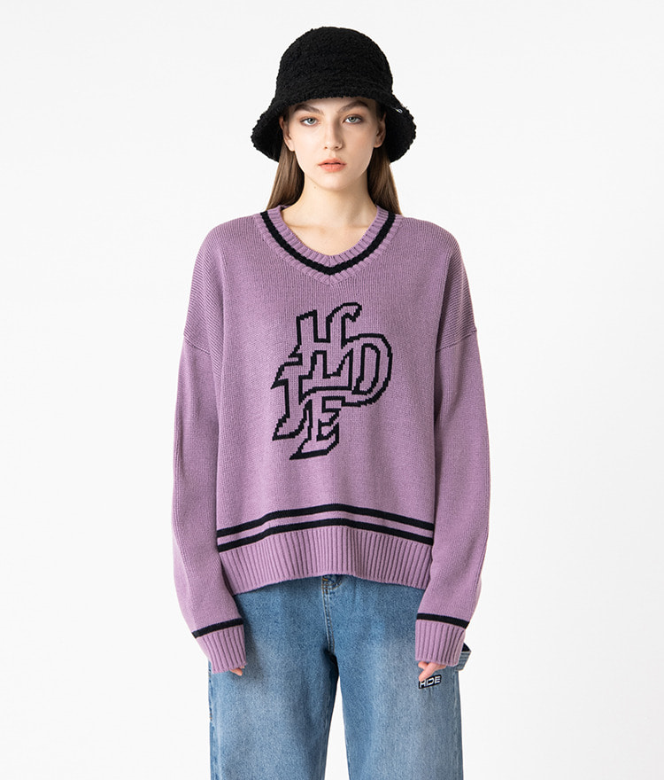 HIDEV-Neck Contrast Stripe Light Purple Knit Top