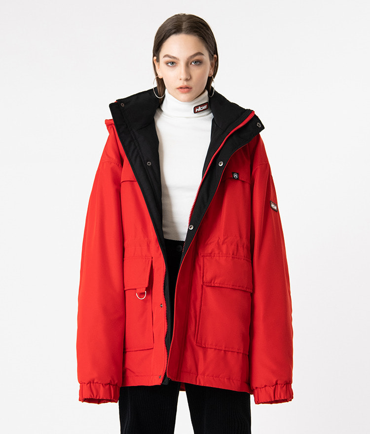 HIDELogo Patch Hooded Dark Red Parka