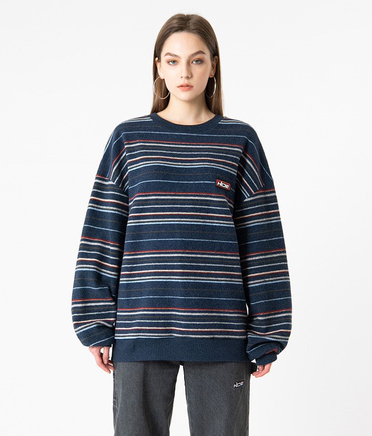 HIDELogo Patch Striped Navy Sweatshirt